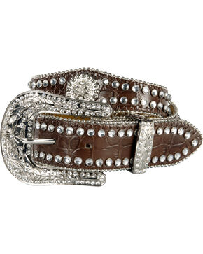 Nocona Belt Co. Kid's Rhinestone Concho Belt, Brown, hi-res