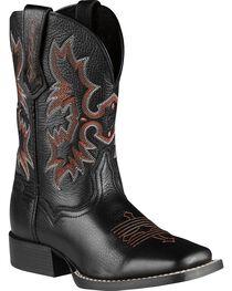 Ariat Boys' Tombstone Black Deertan Cowboy Boots, , hi-res
