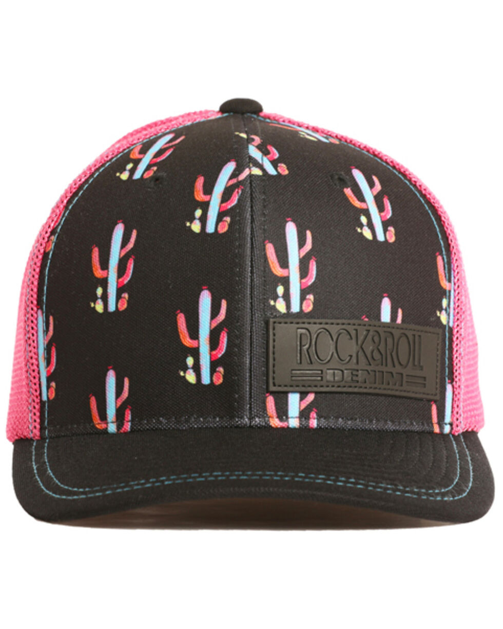 Rock & Roll Denim Men's Cactus Trucker Hat, Black, hi-res