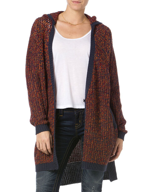 Miss Me Women's Burgundy Hooded Cardigan , Burgundy, hi-res