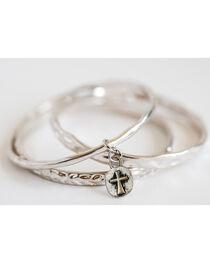 West & Co. Women's Set of 3 Burnished Silver Bangle Bracelets, , hi-res