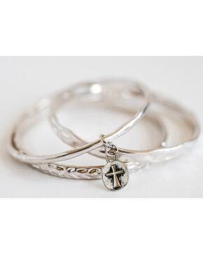 West & Co. Women's Set of 3 Burnished Silver Bangle Bracelets, Silver, hi-res