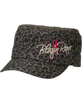 Blazin Roxx Leopard Print Logo Embroidered Cap, Black, hi-res