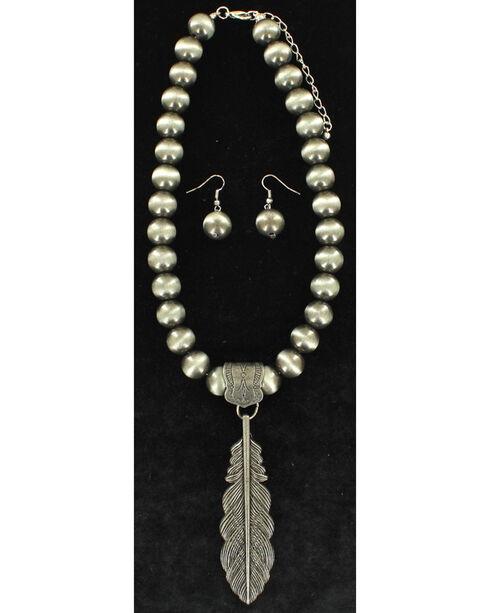 Blazin Roxx Women's Silver Feather Jewelry Set , Bronze, hi-res