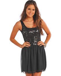 Rock & Roll Cowgirl Women's Black Ballerina Tank Dress , , hi-res
