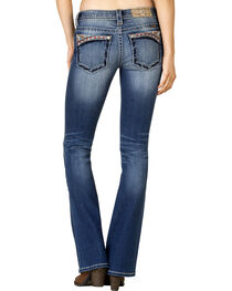 Miss Me Women's Medium Wash Aztec-Embroidered Bootcut Jeans - Extended Sizes, , hi-res