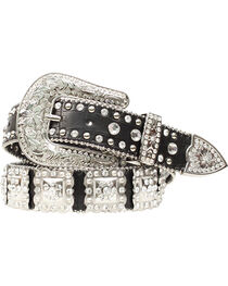 Nocona Studded Rhinestone Concho Leather Belt, , hi-res