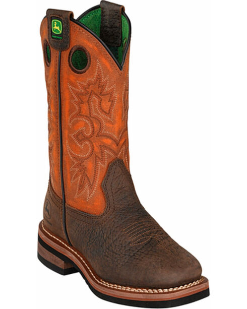 John Deere® Kid's Broad Square Toe Western Boots, Brown, hi-res