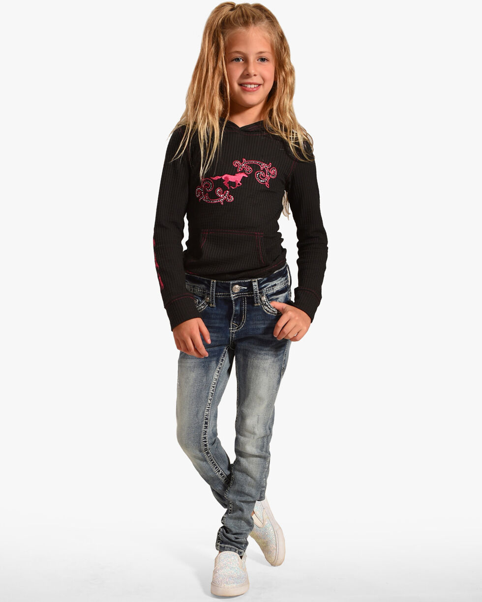 Grace in LA Girls' Embroidered Pocket Skinny Jeans, Indigo, hi-res
