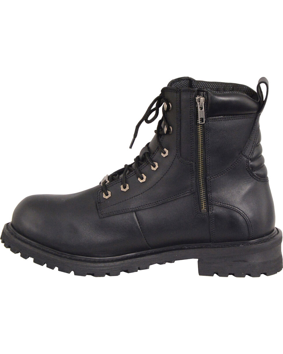 Milwaukee Leather Men's Black Waterproof Logger Boots - Round Toe , Black, hi-res