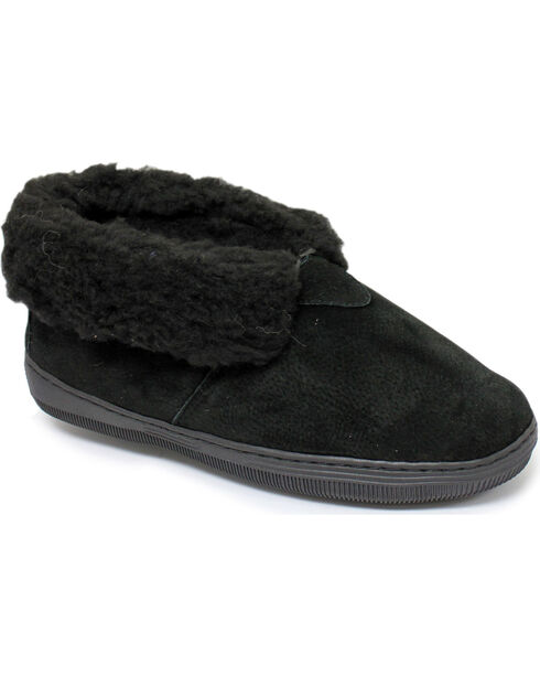 Women's Chestnut Leather Slipper Bootie, Black, hi-res