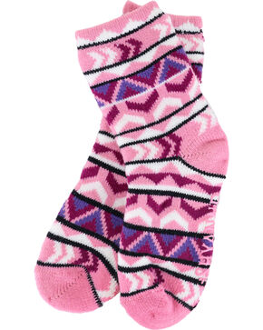 Shyanne Girls' Pink Patterned Cozy Socks, Multi, hi-res