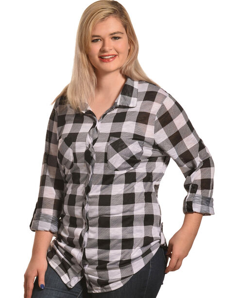 Derek Heart Women's Two Pocket Plaid Button Down Shirt - Plus, White, hi-res