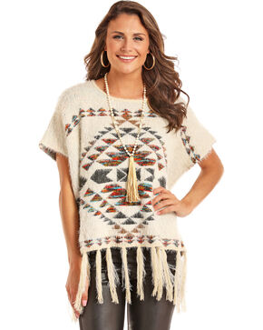 Powder River Outfitters Women's Cream Fuzzy Aztec Pullover , Cream, hi-res