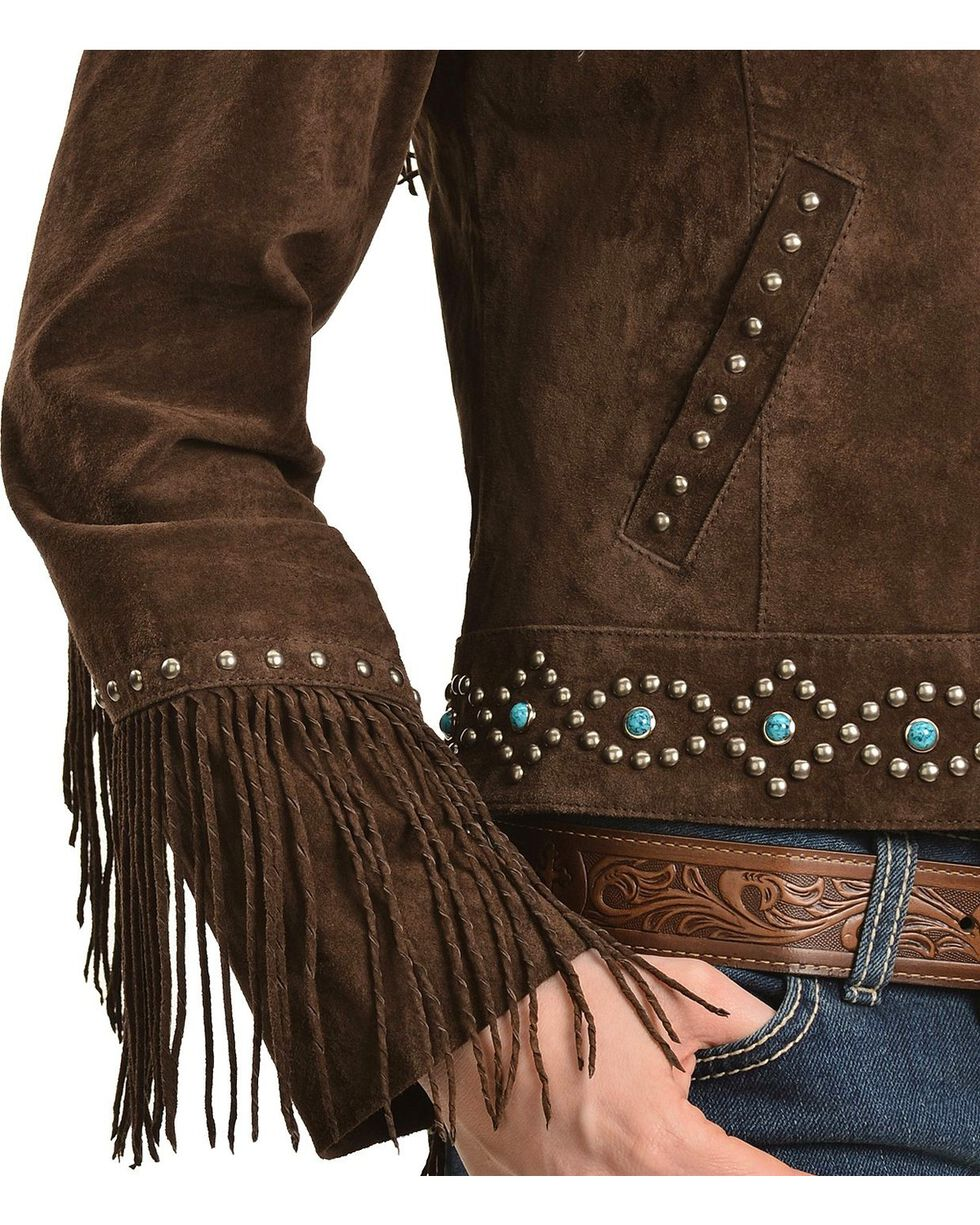 Scully Studded Fringe Jacket, Brown, hi-res