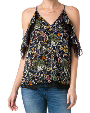 Miss Me Women's Hearts Desire Open Shoulder Top, Dark Blue, hi-res