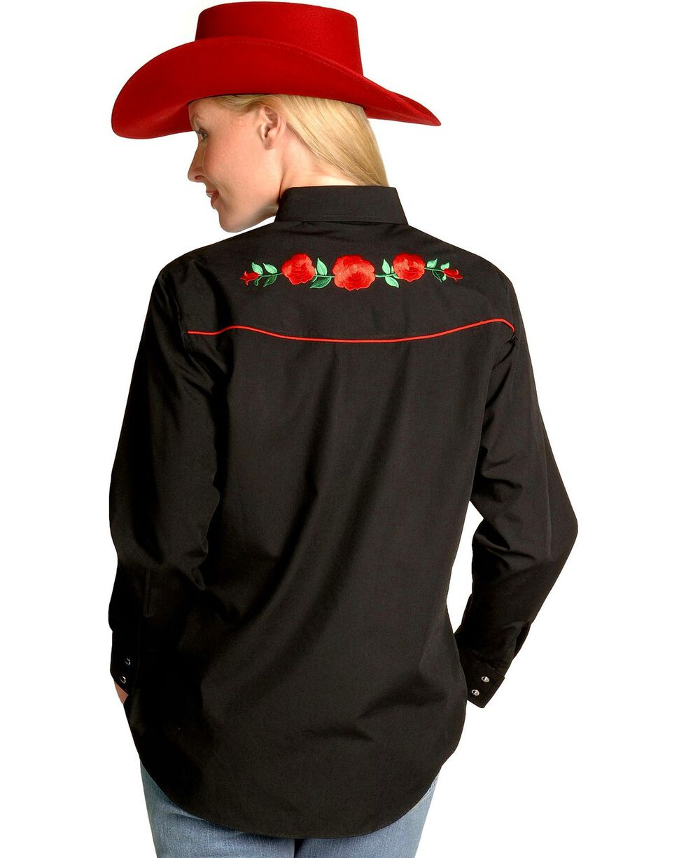 Ely Walker Women's Embroidered Rose Long Sleeve Western Shirt, Black, hi-res