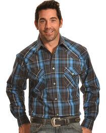Crazy Cowboy Men's Brown and Blue Plaid Diamond Snap Shirt , , hi-res
