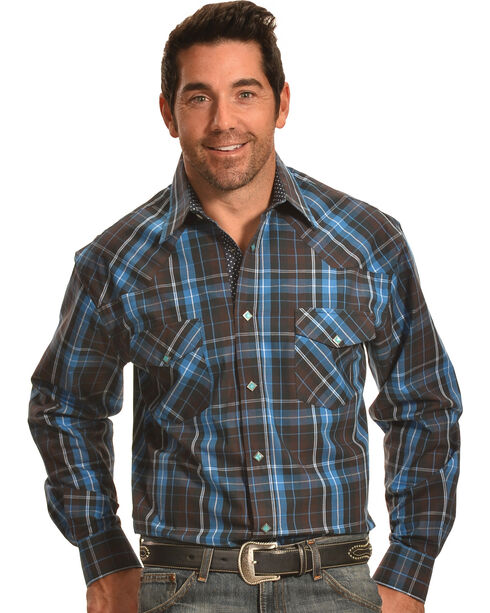 Crazy Cowboy Men's Brown and Blue Plaid Diamond Snap Shirt , Brown, hi-res