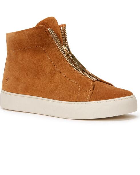 Frye Women's Tan Lena Zip High Shoes - Round Toe, Tan, hi-res