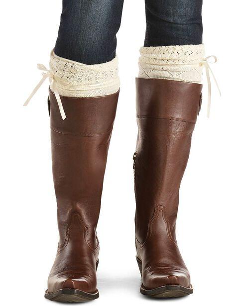 Blazin Roxx Cream Crochet with Ribbon Knee-High Socks, Cream, hi-res