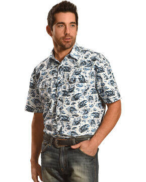 Moonshine Spirit Paisley Short Sleeve Western Shirt, Blue, hi-res