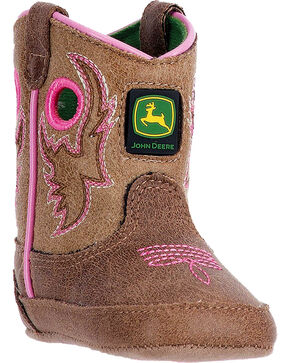 John Deere Infant Crib Western Boots, Pink, hi-res