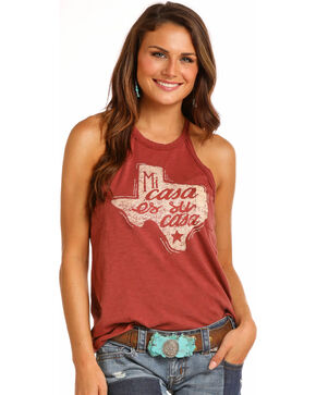 Rock & Roll Cowgirl Women's Mi Casa Tank, Rust Copper, hi-res