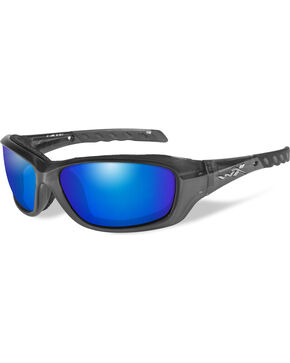 Wiley X Gravity Blue Mirror Black Crystal Sunglasses , Black, hi-res