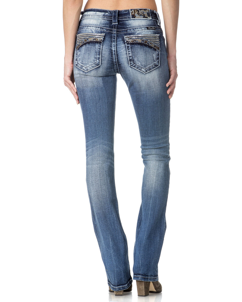 Miss Me Women's Mid Rise Trimmed Pocket Jeans - Boot Cut , , hi-res