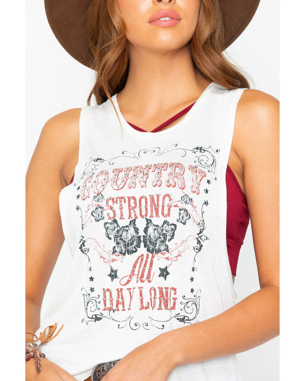 Shyanne Women's Country Strong Tank Top , Oatmeal, hi-res