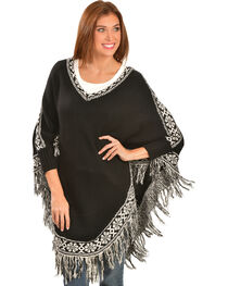 Scully Black and White Fringed Poncho, , hi-res