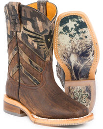Tin Haul Boys' Sergeant at Arms Eagle Cowboy Boots - Square Toe, , hi-res
