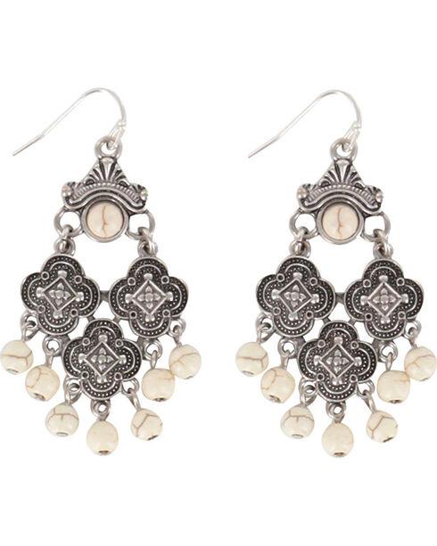Shyanne® Women's Medallion Chandelier Earrings, Cream, hi-res