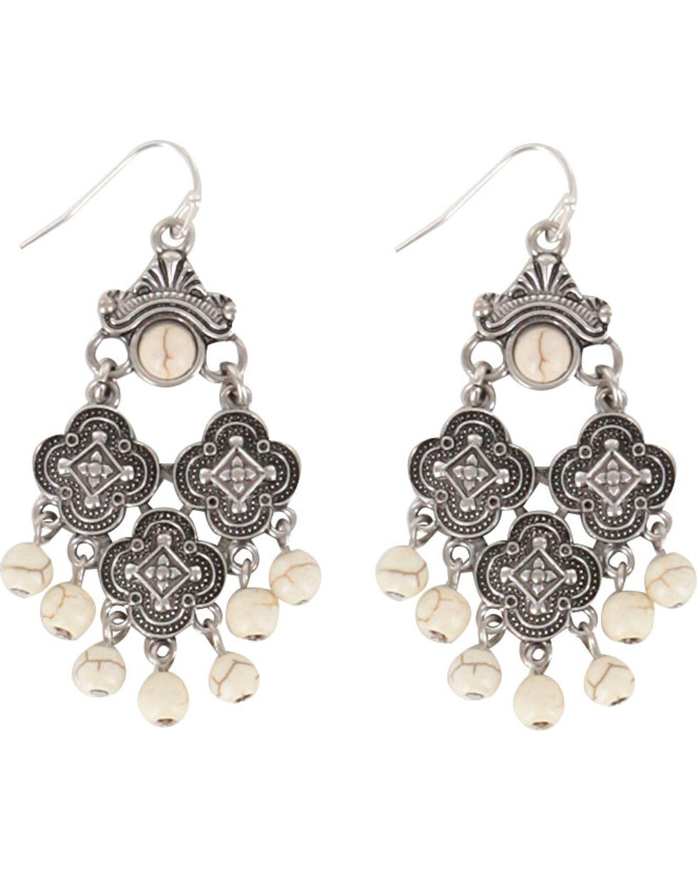 Shyanne® Women's Medallion Chandelier Earrings, Cream, hi-res