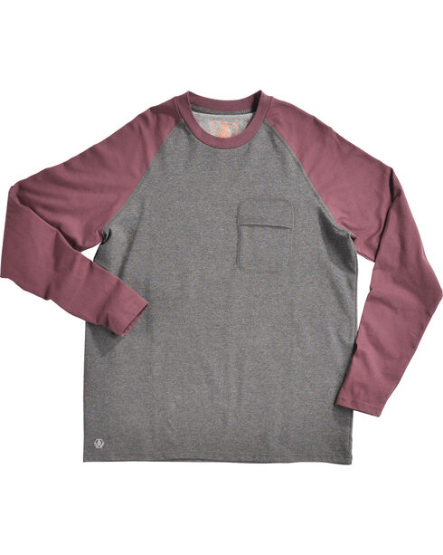 American Worker Men's 10th Inning Baseball Raglan Crew Tee, Charcoal, hi-res