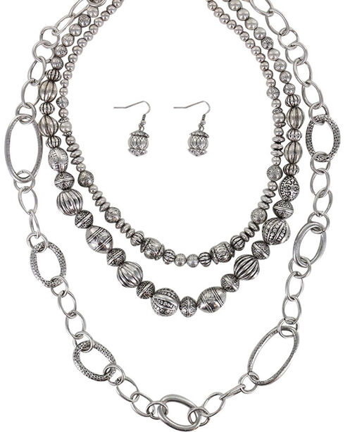 Shyanne® Women's Beaded Necklace Set, Silver, hi-res