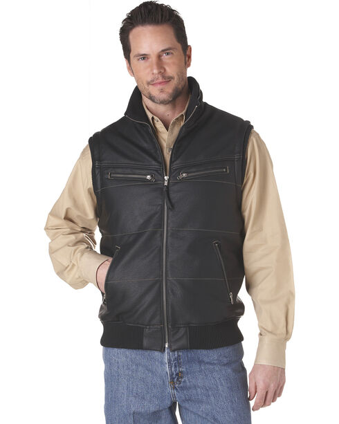 Cripple Creek Zip Front Distressed Faux Leather Polyfill Vest - Black, Black, hi-res