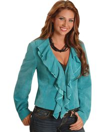 Scully Women's Ruffle Front Boar Suede Jacket, , hi-res