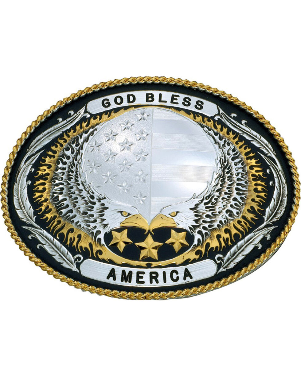 Montana Silversmiths God Bless America Belt Buckle, Multi, hi-res