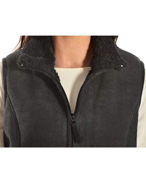 Jane Ashley Sherpa Fleece Vest, Black, hi-res