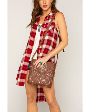 Shyanne Women's Rhinestone Swirl Crossbody Bag, Brown, hi-res