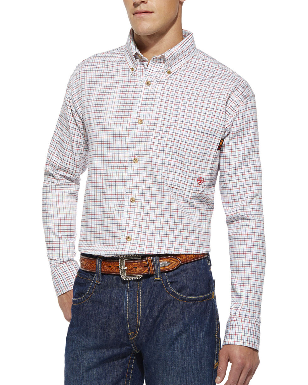 Ariat Flame Resistant Gauge White Plaid Work Shirt, White, hi-res