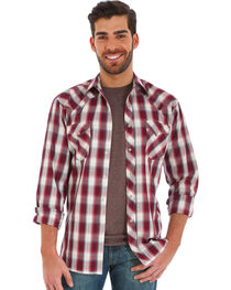 Wrangler Men's Red Plaid Fashion Snap Long Sleeve Shirt, , hi-res