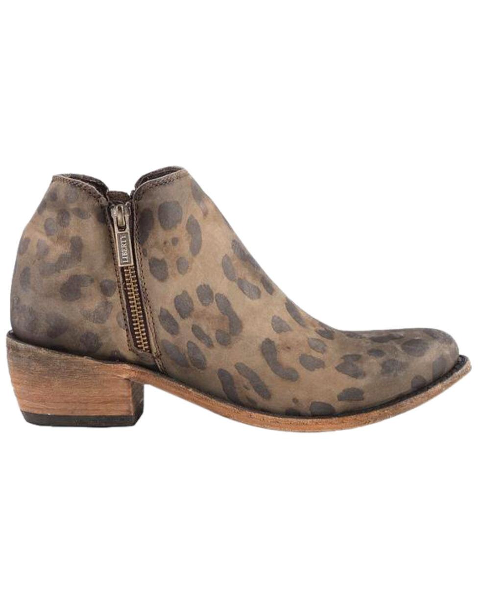 Liberty Black Women's Brown Cheetah Double Zip Booties - Round Toe , Brown, hi-res
