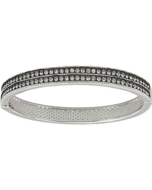 Montana Silversmiths Women's Rhinestone Bangle Bracelet, Silver, hi-res