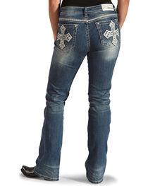 Grace in LA Women's Fleur De Lis Pocket Jeans - Boot Cut , , hi-res