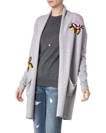 Miss Me Women's Grey Floral Embroidered Sweater , , hi-res