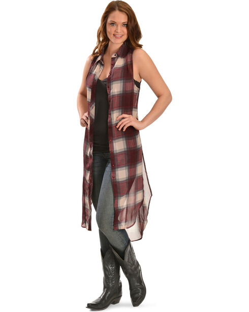 Truly 4 You Long Plaid Sleeveless Top, Plaid, hi-res