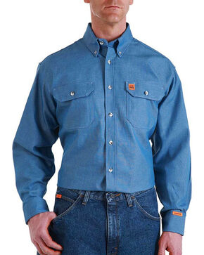 Wrangler Men's Flame Resistant Long Sleeve Work Shirt - Tall, Blue, hi-res